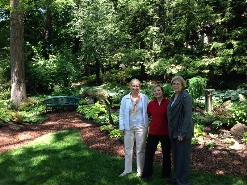 Sandy Heng, past president of the Ann Arbor branch of the women's national farm and garden association.   Sharon Darga,  homeowner of the Ann Arbor garden I visited and featured in next weekend's event.  Irene Ball one of the chairs of the annual event.