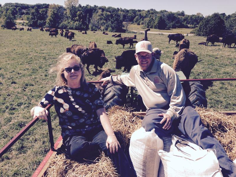 Lisa Barry on a hay wagon with Todd Crocker, the manager of the Bison heard at Dominos Farms.