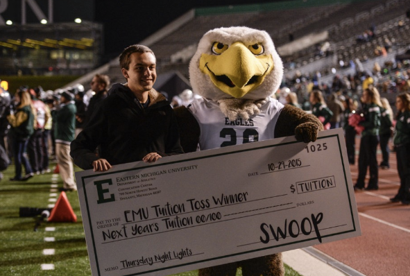 Alex Theisen won free tuition for a year at Thursday's football game!