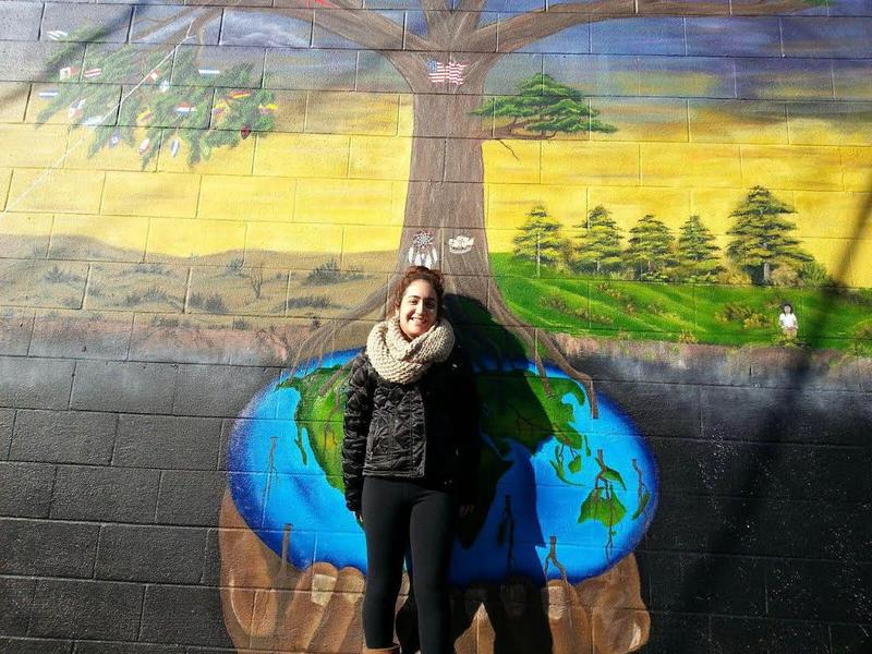 Katia Salazar helped paint the immigration mural.