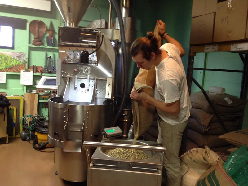 Grant Stewart roasting coffee at Roos Roast, Ann Arbor
