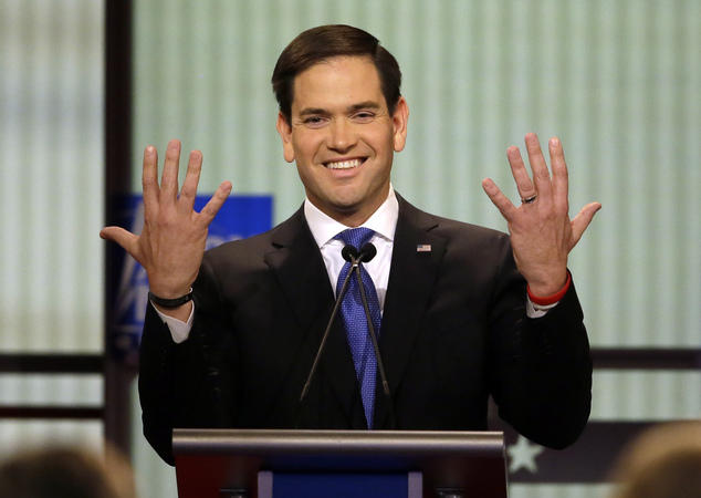 Senator Marco Rubio (R-Florida) at the Republican debate in Detroit