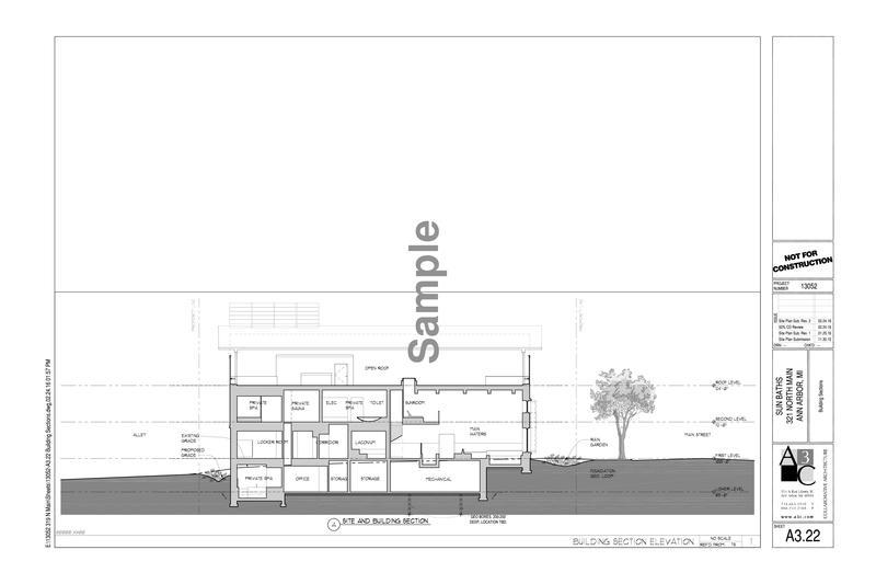 Blueprint of planned bathhouse in Ann Arbor