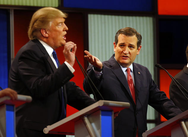 Senator Ted Cruz (R-Texas) debates with Donald Trump
