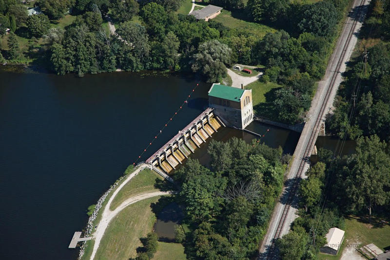 Aerial view of the Ann Arbor's river water supply, Barton Dam.