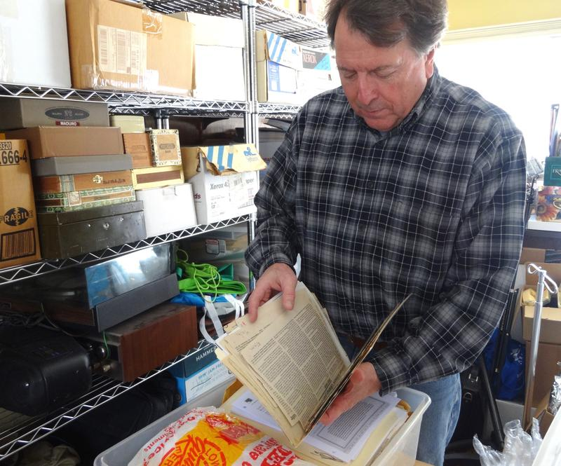 Roger Rayle of Scio Residents for Safe Water reviewing old records