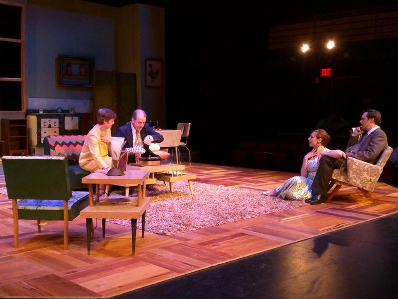 """The cast of """"Barefoot in the Park"""" - Karl Kasischke, Colleen Davis, Larry Rusinsky, Ellen Finch, Thom Johnson and Theo Polley are on stage at the Arthur Miller Theatre."""