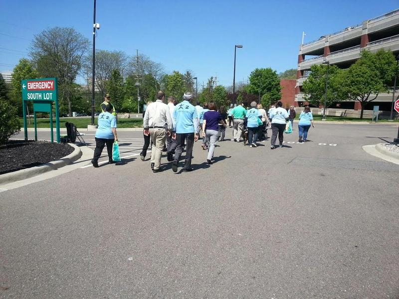 Participants walking near the VA Hospital.