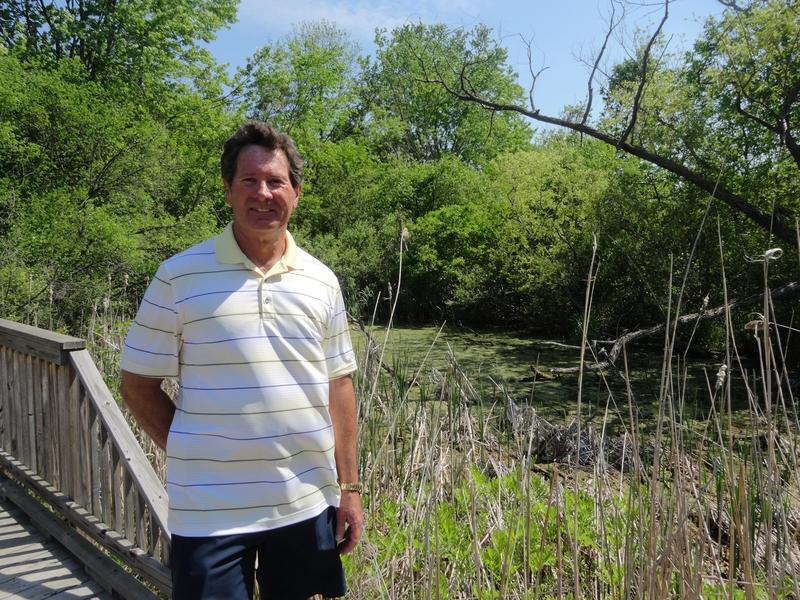 "•	Dan Bicknell at ""Bicknell Creek""—the site of his 1984 discovery of the dioxane contamination"