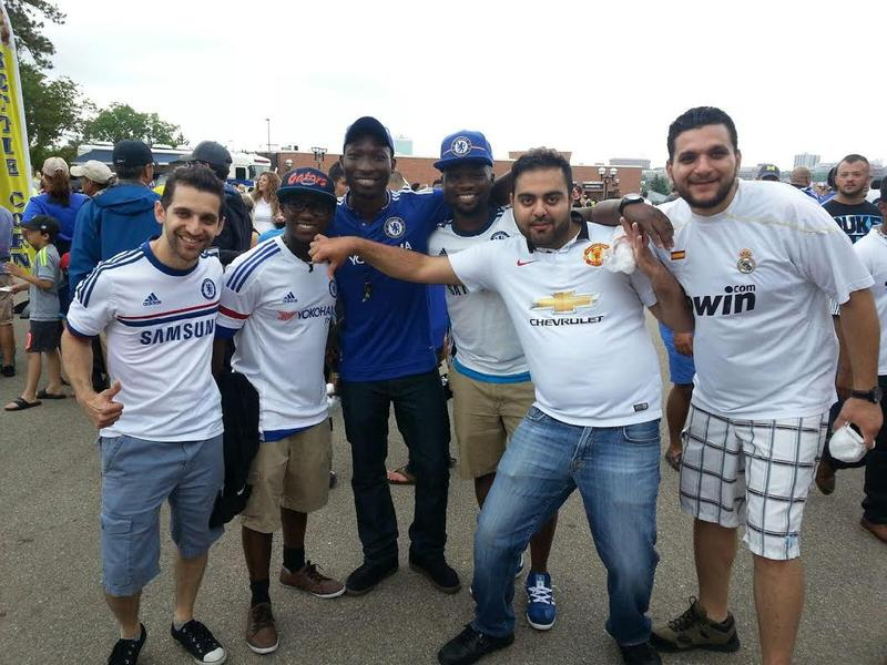 Fans from Chicago (both Chelsea and Real Madrid fans) flaunt their rivalry at Michigan Stadium.