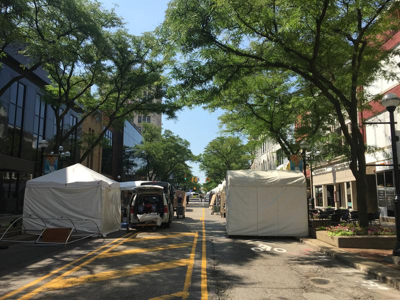 Tents going up for the Ann Arbor Art Fair