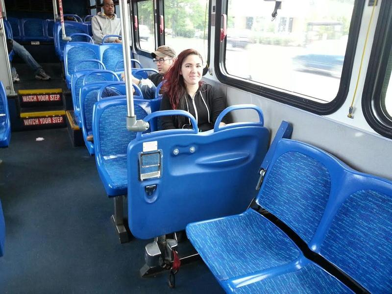 Michaela Millilo on the bus to Ypsilanti.