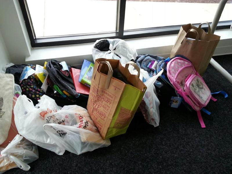 Donated school supplies that have been dropped off at MLive's office in downtown Ann Arbor.