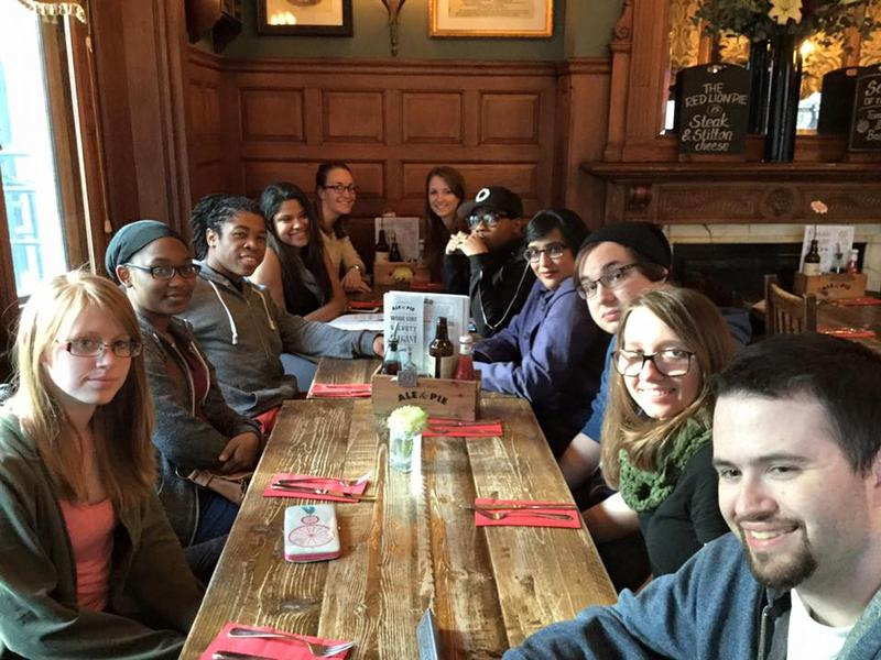 Students and Dr. Ali having their first dinner in London at the Mitre Pub. While they were completely exhausted after a 9 hour flight, they managed to have a great meal and conversation