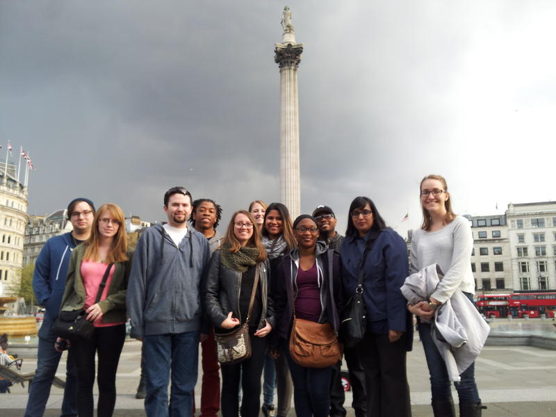 The group took a walking tour of London before dinner. The tour included Parliament, Big Ben, Westminster Abbey, Whitehall and the river Thames. This picture was taken in Trafalgar Square