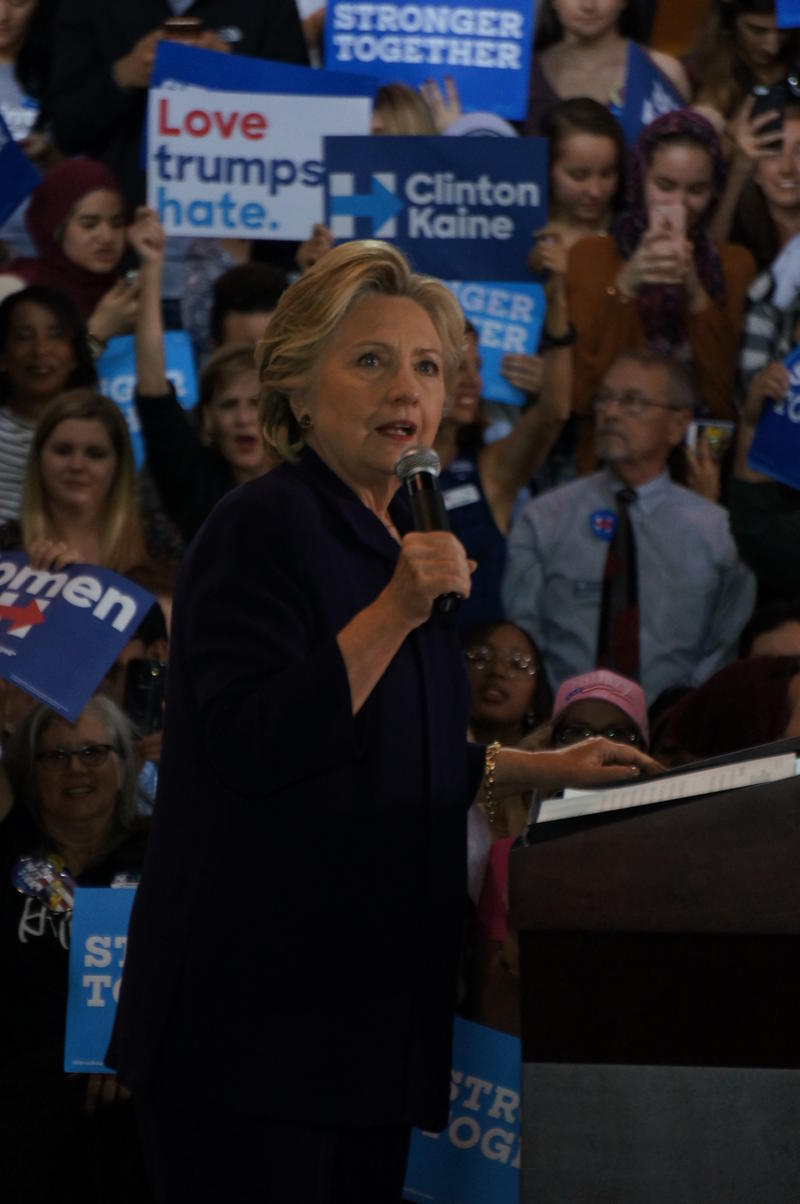 Democratic presidential nominee Hillary Clinton addresses a voter registration rally at Wayne State University in Detroit.