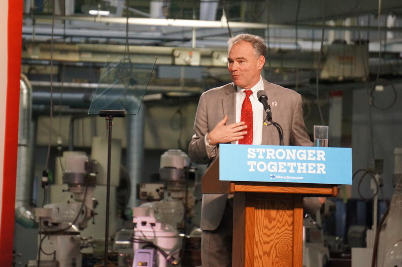Sen. Tim Kaine talks about plans to eliminate poverty at an event in Detroit.