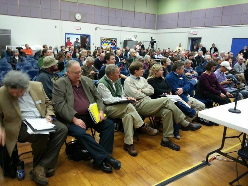 Ann Arbor residents at a town hall meeting regarding the 1,4 dioxane plume at Eberwhite Elementary School.