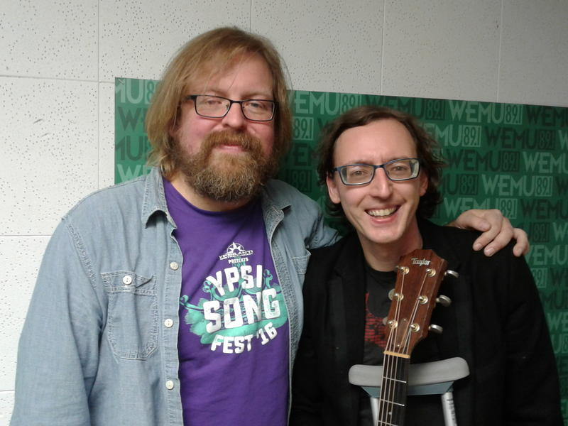 Roots Music Project host Jeremy Baldwin (L) with singer/songwriter Mike Vial.
