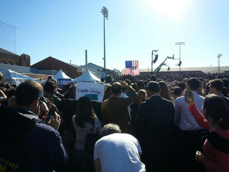 President Barack Obama speaks to a crowd in Ann Arbor.