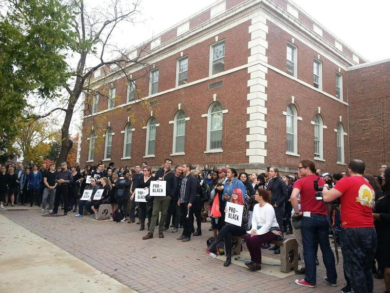 Protest held outside of Ford Hall.