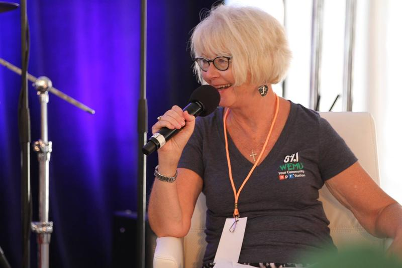 Linda at the 2016 Detroit Jazz Festival Talk tent with Cyrille Aimee