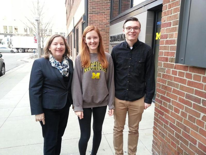 From left to right Michelle Deatrick (Michigan To Believe In), Claire Cepuran and Robert Joseph from Progressives at the University of Michigan.