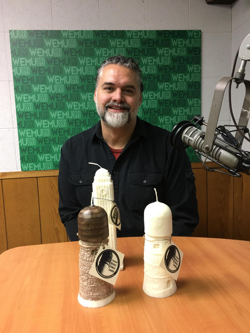 Rick Wedel and his Ypsilanti Water Tower candles.