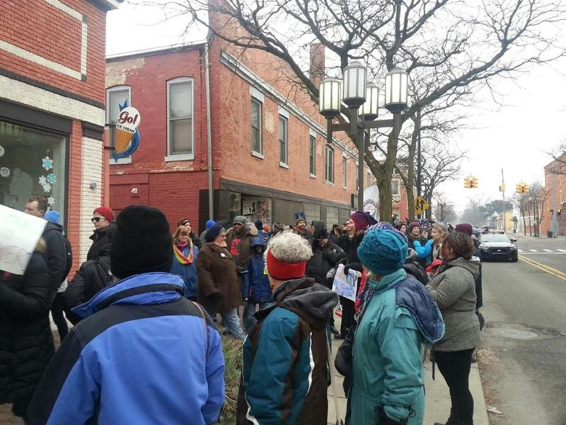The march ended at the YES art theatre.