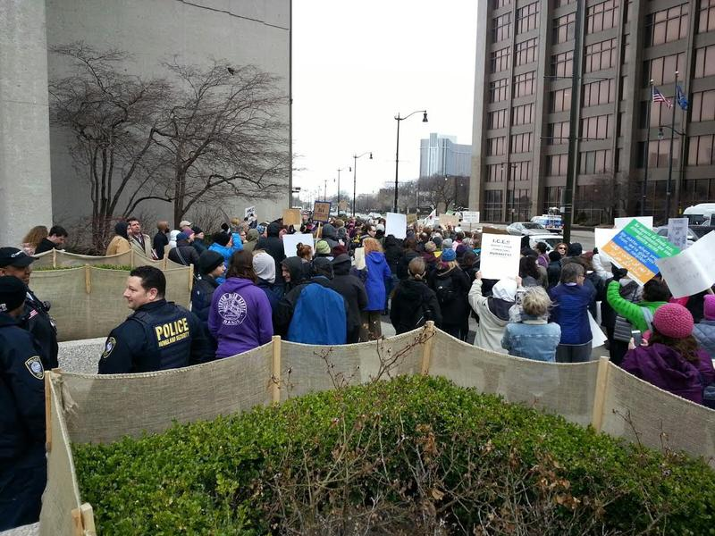 A rally was held outside the McNamara federal building in Detroit to support Yousef Ajin.