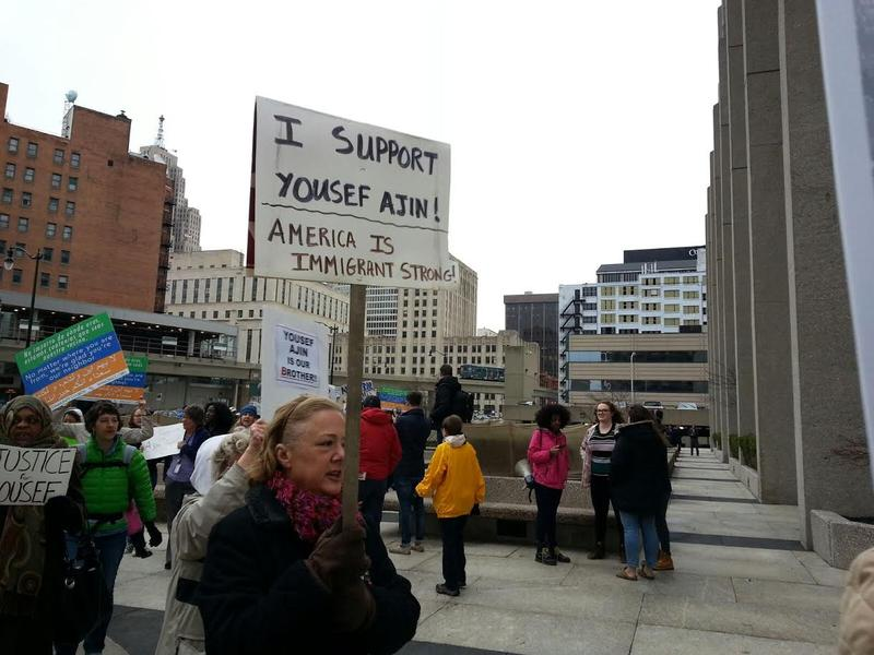 Hundreds showed-up for the rally in downtwon Detroit.