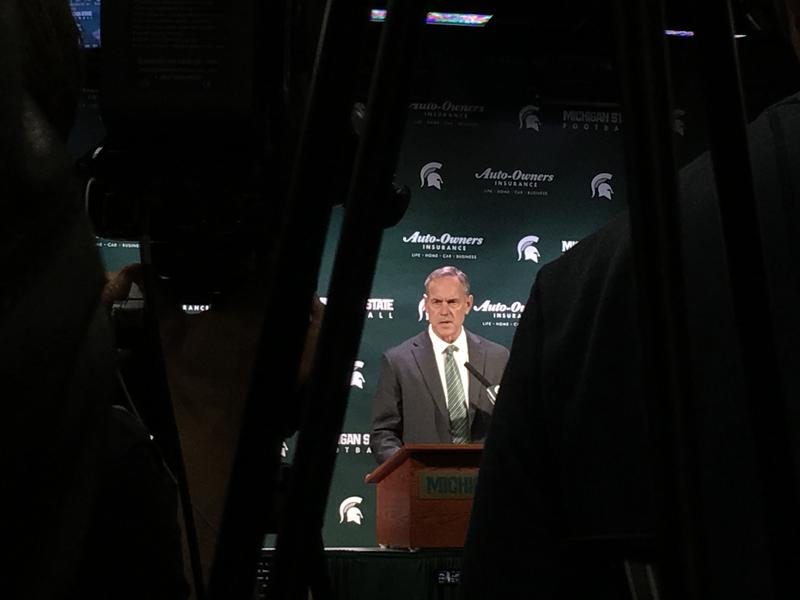 MSU football coach Mark Dantonio holds a press conference.