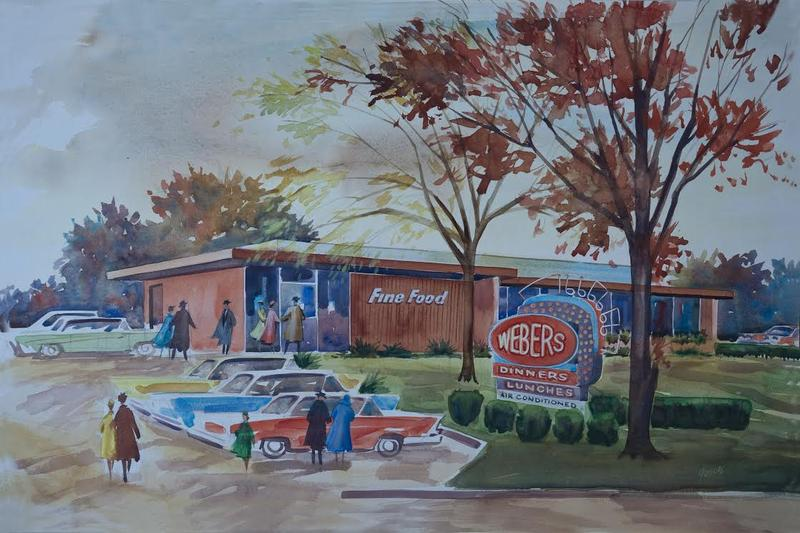Painting of former Weber's site on Jackson Road by Donald B. Gooch, former professor of advertising design at U-M