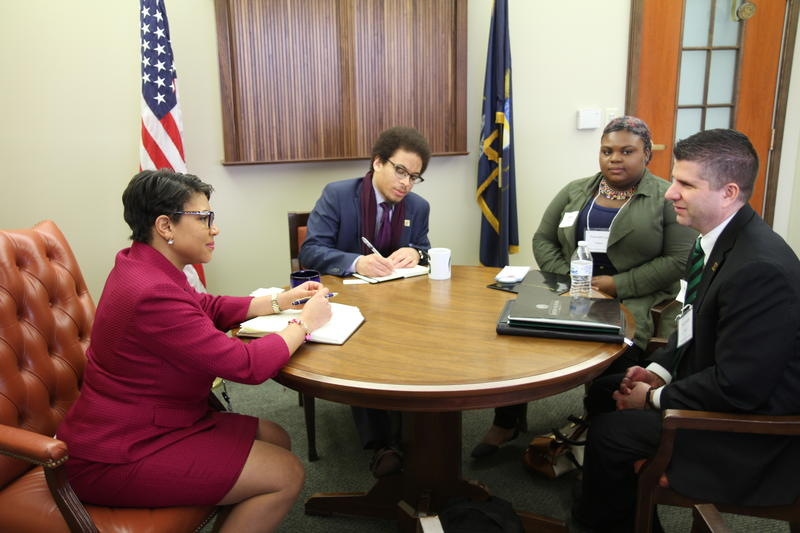A meeting with Representative Sylvia Santana.
