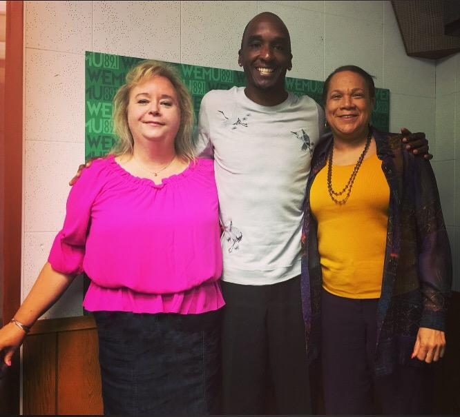 WEMU's Lisa Barry with Ypsilanti Community Schools Superintendent Dr. Benjamin Edmondson and Medical Director of the Sickle Cell Disease Association of America/Michigan Chapter Dr. Wanda Whitten-Shurney