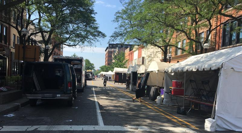 Artists setting up in downtown Ann Arbor for the 58th Art Fair