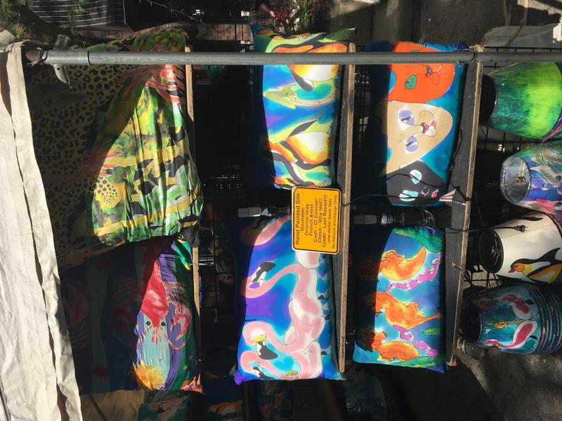 Some of Laine's colorful hand-painted items