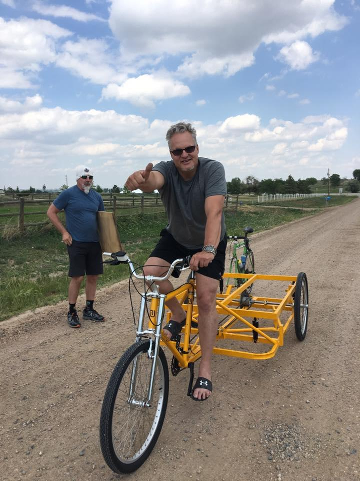 "Mr B and his piano-toting bike prepping for the ""Spint 4 Flint."""