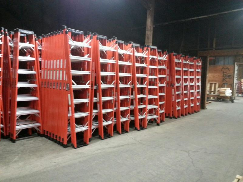 Fiberglass ladders ready to be loaded in trucks for distribution.