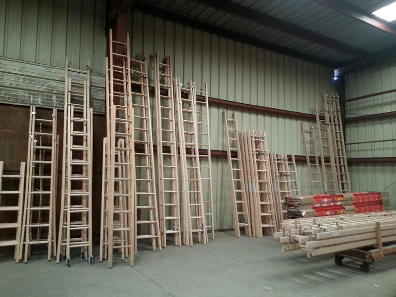 Wood ladders in the warehouse.