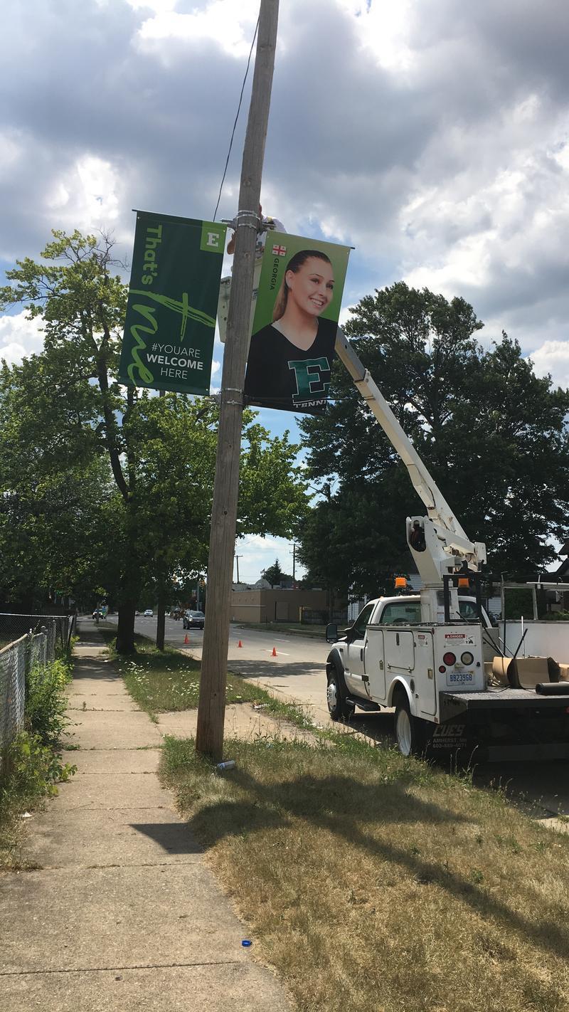 Banner being installed.