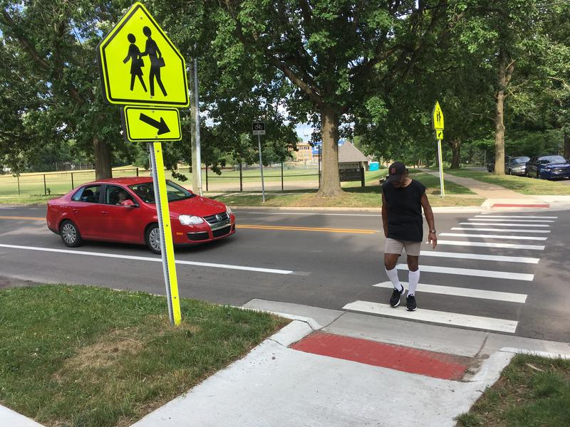 Crosswalk at Pontiac Trail, in Ann Arbor's 'Changing Driver Behavior Study.'