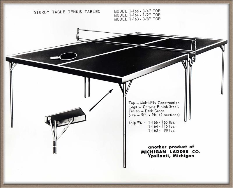 "Ping Pong tables called the ""Detroiter"" were produced by the company from the 1960's to the mid 1990's."