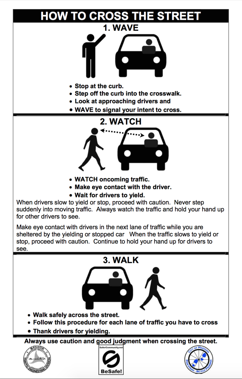 Madison, Wisconsin's hand prompt campaign, 'Wave, Watch, Walk'