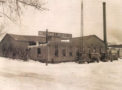 Old photograph of the Michigan Ladder Company building in Ypsilanti.