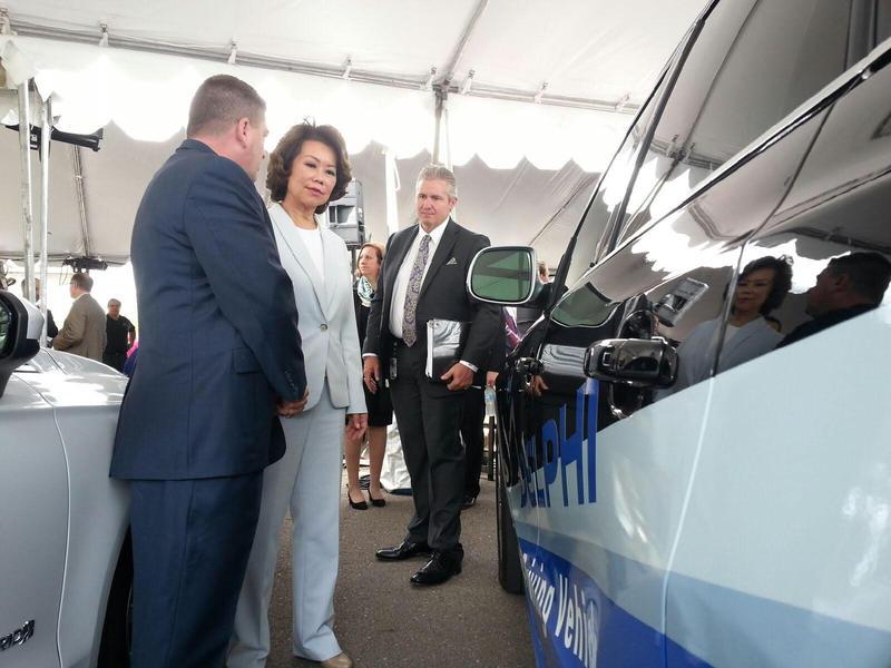 U.S. Transportation Secretary Elaine Chao visits the Mcity testing site in Ann Arbor.