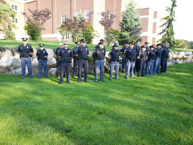 Local law enforcement at the memorial service.