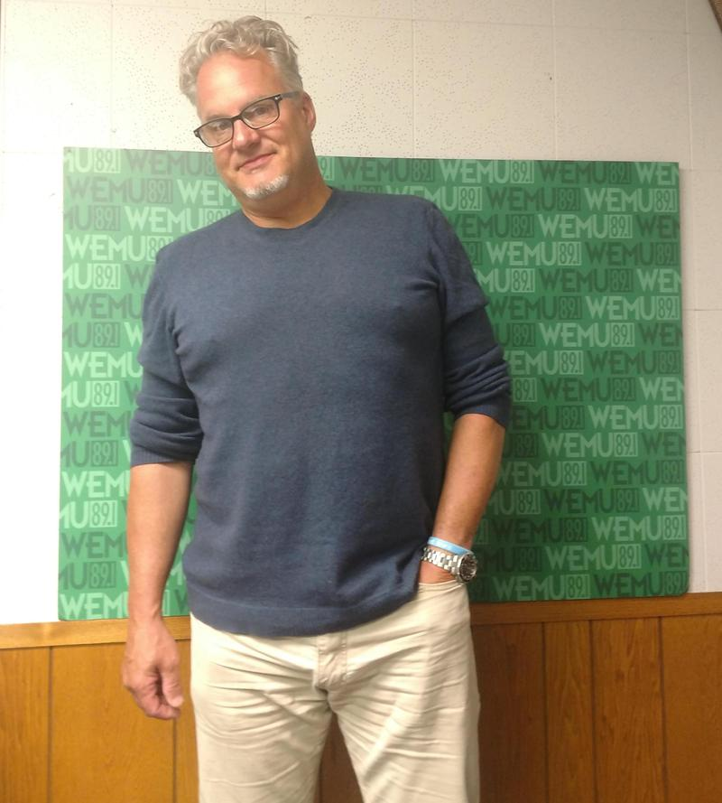 Mark Braun, 'Mr B,' at WEMU after completing the 'Sprint 4 Flint.'