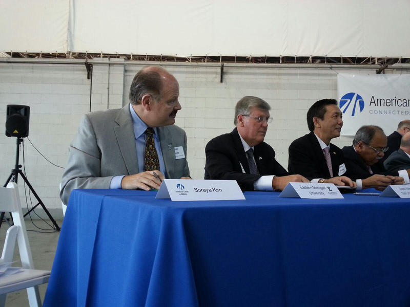 Eastern Michigan University President James Smith attended the event at the American Center for Mobility.