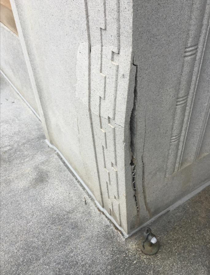 This is what the granite looked like before the Building Arts & Conservation team worked on it.